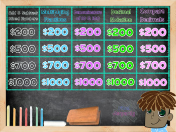 4th Grade Common Core Math Jeopardy:  Number and Operations - Fractions