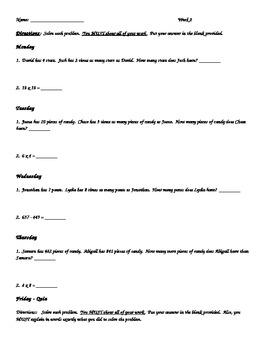 4th Grade Common Core Math Morning Work