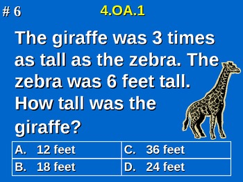 4th Grade Common Core Math - Multiplication As A Comparison Word Problems 4.OA.1