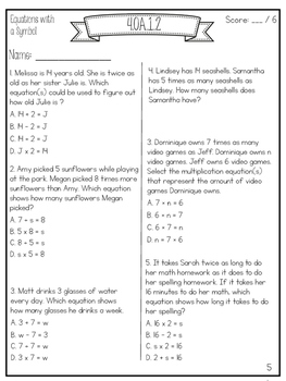 4th Grade Common Core Math Test Prep {Operations and Algebraic Thinking}