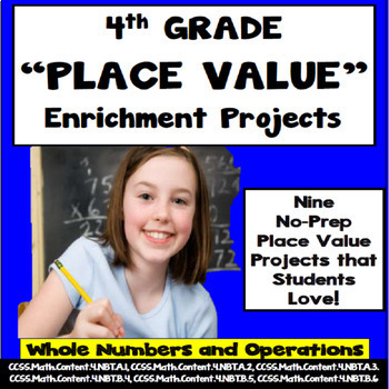 4th Grade Place Value Enrichment Projects, Vocabulary,  Print and Go!