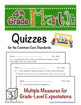 4th Grade Common Core Math Quizzes - All Standards