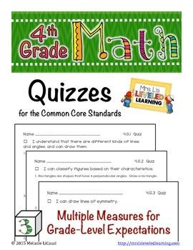 4th Grade Common Core Math Quizzes - All Standards