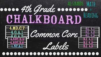 4th Grade Common Core Math/Reading Chalkboard Labels (Sterilite Containers)