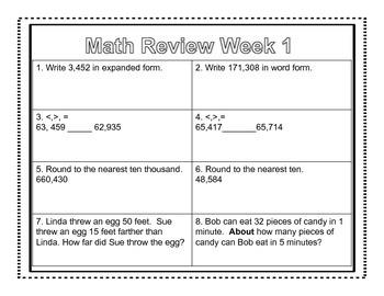 4th Grade Common Core Math Review