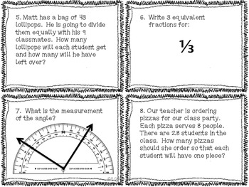 4th Grade Common Core Math Review Bundle (4 task card sets)