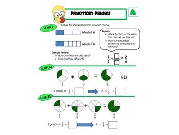 4th Grade Common Core Math Review:  Fraction Friday   1st 9 Weeks