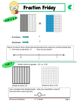 4th Grade Common Core Math Review: Fraction Friday --2nd 9 Weeks