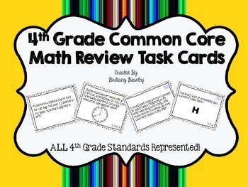 4th Grade Common Core Math Review Task Cards *ALL Standards*