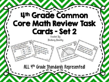 4th Grade Common Core Math Review Task Cards *ALL Standards* Set 2