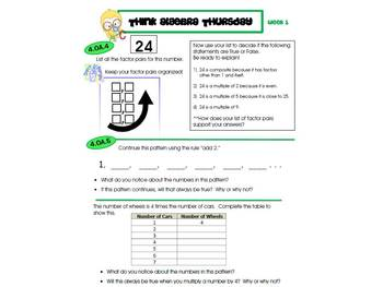 4th Grade Common Core Math Review:  Think Algebra Thursday   1st 9 Weeks