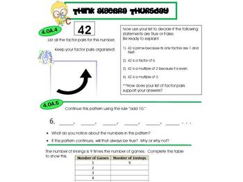 4th Grade Common Core Math Review:  Think Algebra Thursday  2nd 9 Weeks