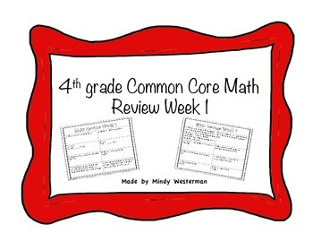 4th Grade Common Core Math Review Week 1