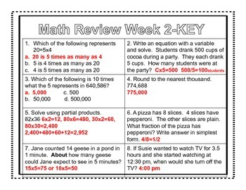 4th Grade Common Core Math Review Week 2