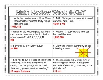 4th Grade Common Core Math Review Week 4