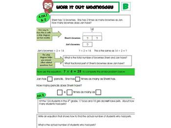 4th Grade Common Core Math Review:  Work it Out Wednesday   2nd 9 Weeks