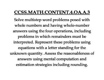 4th Grade Common Core Math Standard Posters (Chevron pattern)