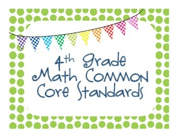 4th Grade Common Core Math Standards Cards
