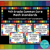 """4th Grade Common Core Math Standards - """"I Can"""" Statement Posters"""