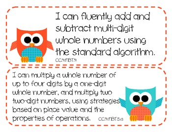 4th Grade Common Core Math Standards - I Can Statements (OWL THEME)