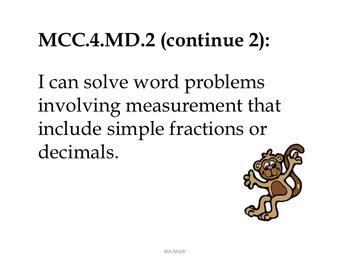 4th Grade Common Core Math--Student Friendly--Monkey Clipart