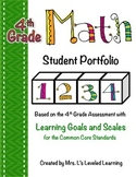 4th Grade Common Core Math Student Portfolio with Marzano Scales!