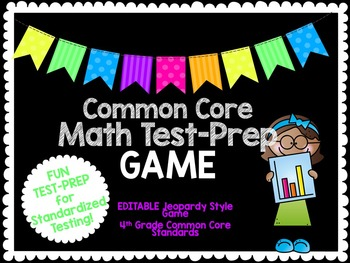 4th Grade Common Core Math TEST PREP Jeopardy Review Game-