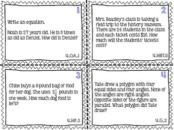 4th Grade Common Core Math Task Cards - 2 Sets *ALL Standards Represented*