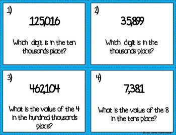 4th Grade Common Core Math Task Cards- Place Value Understanding