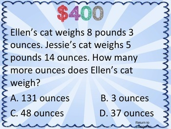 4th Grade Common Core Math Test Prep Game Show (MD) PowerPoint