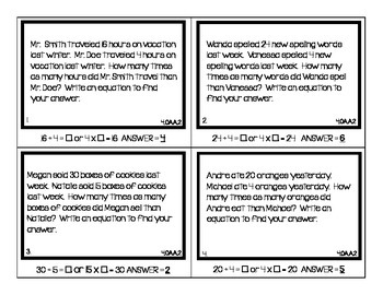 4th Grade Common Core Math Test Prep and Review Task Cards