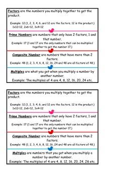 4th Grade Common Core Math Unit/Center - Factors, Multiples, Prime and Composite