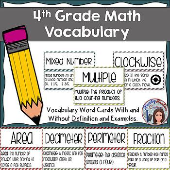 4th Grade Math Vocabulary Signage Part 2