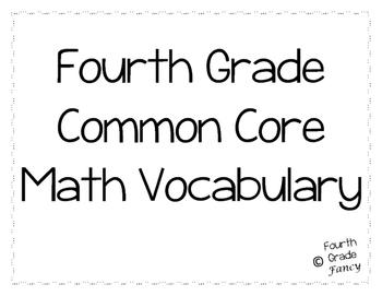 4th Grade Math Vocabulary {ALIGNED TO COMMON CORE}
