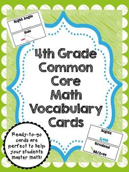 4th Grade Common Core Math Vocabulary Card Set