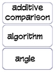 4th Grade Common Core Math Vocabulary Cards and Word Wall Words
