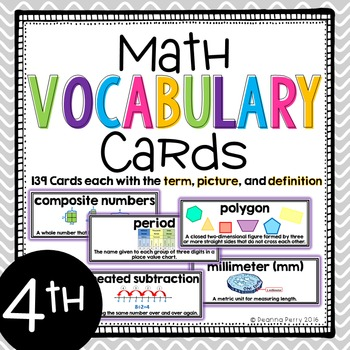 4th Grade Common Core Math Vocabulary Cards with Definitions {139 CARDS}
