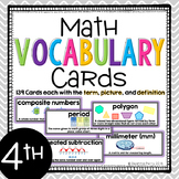 4th Grade Common Core Math Vocabulary Cards with Definitio