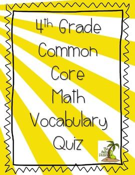 4th Grade Common Core Math Vocabulary Test