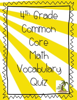 4th Grade Common Core Math Vocabulary Test