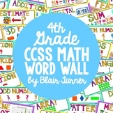 4th Grade Common Core Math Vocabulary - WORD WALL