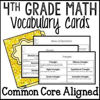 Math Vocabulary Word Definition Cards 4th Grade Common Cor