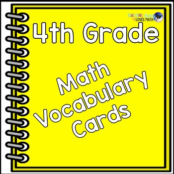 Math Vocabulary Word Cards 4th Grade Common Core