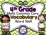 4th Grade Common Core Math Vocabulary Word Wall (Chevron)