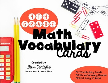 4th Grade Common Core Math Vocabulary Word Wall Cards