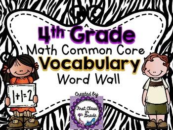 4th Grade Common Core Math Vocabulary Word Wall (Zebra)
