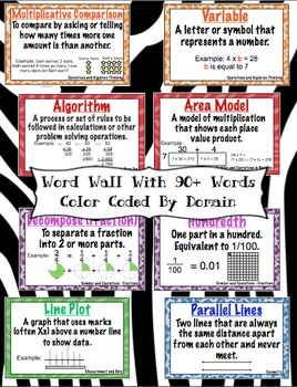 4th Grade Common Core Math Vocabulary Word Wall and More (Animal Print Edition)
