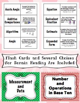 4th Grade Common Core Math Vocabulary Word Wall and More (Sunburst Edition)