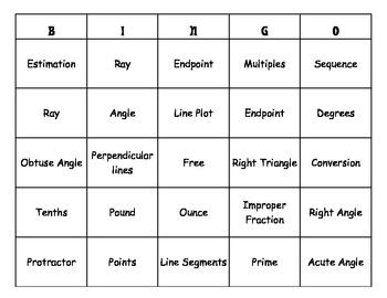 4th Grade Common Core Math Vocabulary Words Bingo