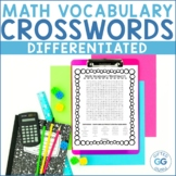 4th and 5th Grade Common Core Differentiated Math Vocabulary Wordsearches